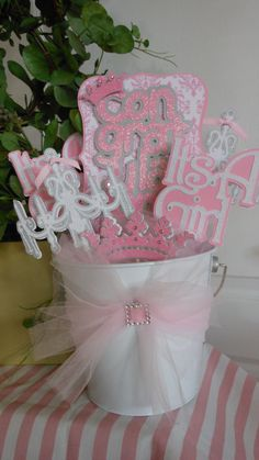 Baby Shower-Chandelier Center Piece (Its a girl). $44.50, via Etsy.
