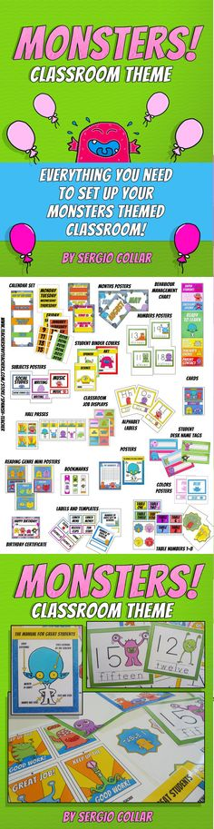MONSTERS - Classroom Theme - Labels signs and much more!    Everything you need to set up your MONSTERS themed classroom!