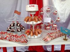 Carnival bachelorette party dessert table