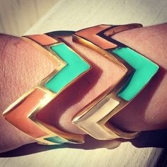 Tell us what you think!? Chevron stackable cuffs from our Upcoming Deco collection! #melvin #madeinusa #americanmade #chevrons #cuffs #jewelry #accessories #sneakpeek #comingsoon #coral #mint #peach #coralandmint #enamel #instagood #accessoryoftheday #madeinnyc #deco #newcollection #instagramfashion #fashion #instafashion #stackable #armcandy - @melvinjewelry- #webstagram