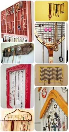 Unconventional Jewelry Displays  I like the one with the hanger it would b great to save space in my closet