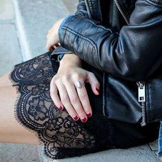 street fashion - black leather jacket and lace skirt