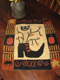 PRIMITIVE HOOKED RUG HOOKING KIT ~ THE WITCH'S SHOE