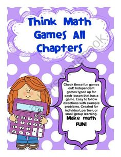 Think Math Center Games/Activities/Extensions from Reading Street Creations on TeachersNotebook.com -  (79 pages)  - Wondering what to do with early finishers in math? Want your students to have more problem solving skills? Well I have created 77 easy to follow and understand math games to do just that. Each game has step by step directions. Games available in multiple
