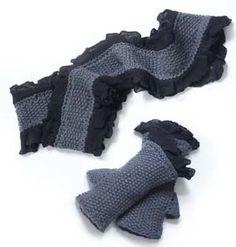 Free Knitting Pattern: Ruffled Scarf and Wristers
