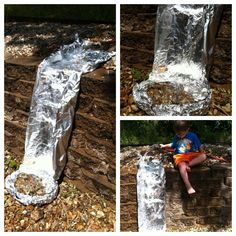 An aluminium foil waterfall for water play - some people are so clever!