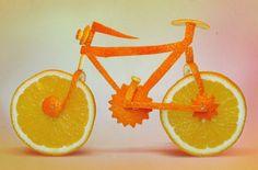 food sculpture, orang bike, orange you glad, cake decorations, bicycle art, fruit art, bike art, foodart, food art