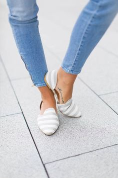 Sole Society Grey And White Striped Denim D'orsay Flat Shoes