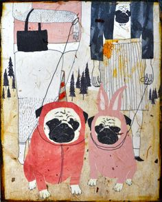Pug Love mixed media print on wood by retrowhale on Etsy, $36.00