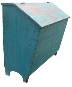 """19th century Lebman Co. Pennslyuvania Storage  Bin, with the old blue paint, divided interior, nailed construction with square head nails, all original circa 1840 measurements are: 22"""" deep x 43"""" wide x 39"""" tall primit blue, blue paint"""