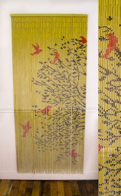 Intricately hand painted beaded curtain: 'Birds in Tree'- $34.95