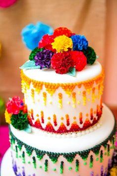bright wedding cake for a Cinco de Mayo wedding // cake by JustCakinIt.com