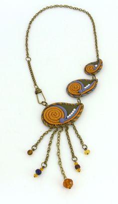 Sculpey III Tear Drop Cutter Paisley Necklace #Polymer #Clay #Tutorials