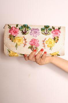 vintage raffia floral clutch