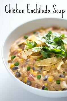 30 Minute + One Pot: Creamy Chicken Enchilada Soup!