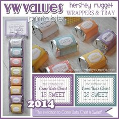 YW Values, 2014 Theme Come Unto Christ Nugget Candy Wrappers, Young Women LDS - Printable Instant Download