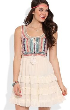 Deb Shops A-Line Dress with Embroidered Drawstring Bodice and Tiered Skirt $28.00