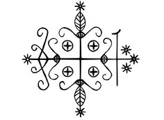 A veve (religious symbol) of Haitian Vodou, used to call up the loa (spirits).
