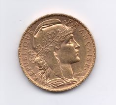 """French 20 Franc #Coin. The obverse of this gorgeous coin features the profile of France's """"Lady Liberty,"""" a symbol of the nation's Third Republic, which spanned from 1870 when Napoleon III was defeated in the Franco-Prussian War until World War II."""