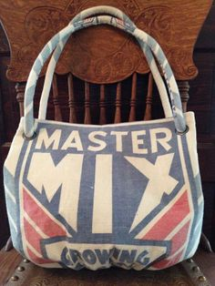 vintage MASTER MIX Growing Mash feed sack purse  a by ginnymae, $55.00