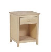 Whitewood Lancaster Bedroom    1 Drawer Lancaster Nightstand Features Full Extension Ball Bearing Glides!    Solid Wood, Fully Assembled, Ready to Stain or Paint    18w x 17d x 25.5″high  Price: $149.90