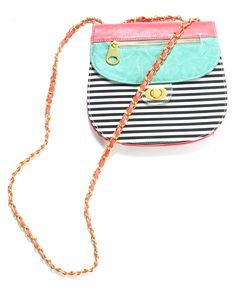 stripe color block cross body
