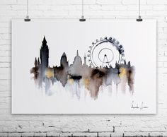 London Cityscape Art Print   Watercolor by WatercolorPrint on Etsy, $30.00
