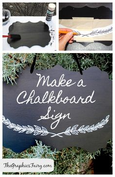 DIY Tutorial - Painted Chalkboard Sign with Printable Transfer Wreath!