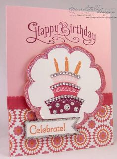 Love the rhinestones along the top of each layer.  Topsy-Turvy Birthday by slfarrell - Cards and Paper Crafts at Splitcoaststampers