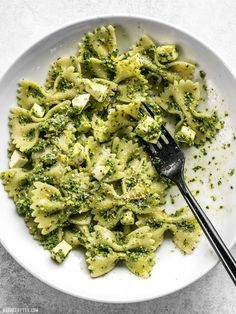 Kale makes a great inexpensive and earthy pesto! Dress up this Kale Pesto pasta with add-ins to make it a meal, or keep it simple for the perfect summer side. BudgetBytes.com