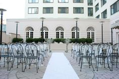 A garden terrace brings a simple elegance to this city wedding ceremony at The Doubletree by Hilton Washington DC. {The Doubletree by Hilton Washington DC}