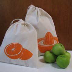 On SALE Set of 2 organic reusable produce bags, $12.00