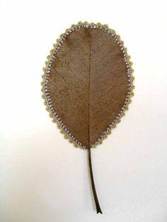 Crocheted leaf.