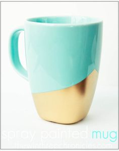 DIY Gold dipped coffee mug. Love these colors!!