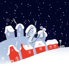 iCLIPART - Royalty Free Clipart Image of a Winter Town