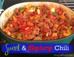 Sweet & Spicy Homemade Chili made with sausage and ground beef! Best chili ever! sausages, ground beef, parties, food, chilis, chili recipes, homemad chili, beef chili, spici homemad