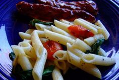 Roasted Cherry Tomatoes and Greens Pasta, oregano and garlicky goodness!