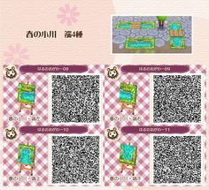 tiles, patterns, paths, water animals, river path, anim cross, qr codes, animal crossing, leaves