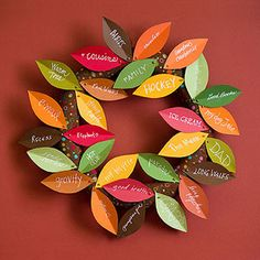 Wreath of Plenty: Each note of gratitude pinned to this leafy wreath only improves its lush look. Set out blank leaves, pens, and straight pins and ask guests to add what they're thankful for.