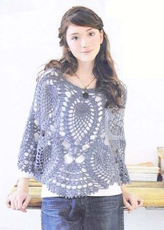 crochet poncho, pineapple pattern