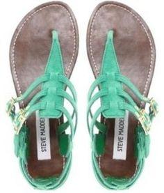 steve madden sandals, summer sandals, mint green, color, summer flats, summer shoes, flat sandals, gladiator sandals, bohemian style