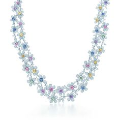 Perfect for the Easter basket. Necklace in platinum with fancy color sapphires and diamonds. | Tiffany & Co.