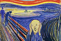 """The pastel version of """"The Scream"""" by Edvard Munch just sold at auction at Sotheby's for $120,000,000 by Leon Black of NY.  It is one of four versions created by Munch.   1893."""