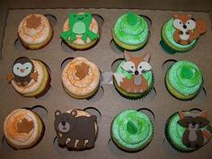 baby shower cakes, woodland cupcake ideas, party cupcakes, woodland party, animal cakes, woodland animals, animal cupcakes, babi shower, parti