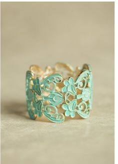 Mint and gold cuff