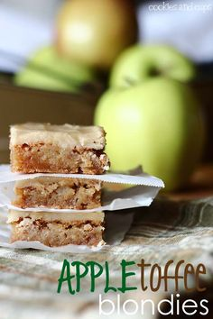 Apple Toffee Blondies.  Make them with or without the brown Sugar Frosting.  Either way, they're delicious!