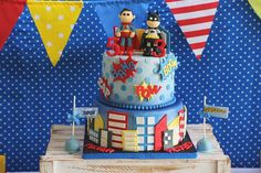 Superhero cake - Batman & Superman  https://www.facebook.com/pages/Baked-with-Love/115563808503000?sk=timeline
