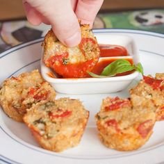 Quinoa Pizza Bites — Fresh herbs and quinoa provide a healthier way to get all of the flavors of pizza in an easy-to-eat, kid-friendly bite.