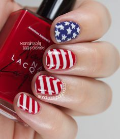 Wondrously Polished: Happy Fourth of July! - American Flag inspired Nail Art