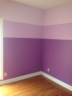 The girls' ombré purple bedroom I painted! I used the lightest and darkest colors on a paint card. Then mixed both for the middle color. Top half of room in lighter, bottom half in darker then painted middle section over both light and dark using trim tape. The girls love it!!! nursery colors, light purple bedroom, shades of purple, purple bedroom paint colors, bedroom colors paint purple, ombré purpl, light purple paint colors, purple bedrooms, girls purple room